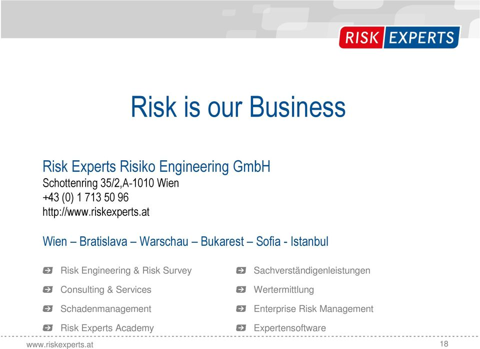 Risk Engineering & Risk Survey Consulting & Services Schadenmanagement Risk Experts