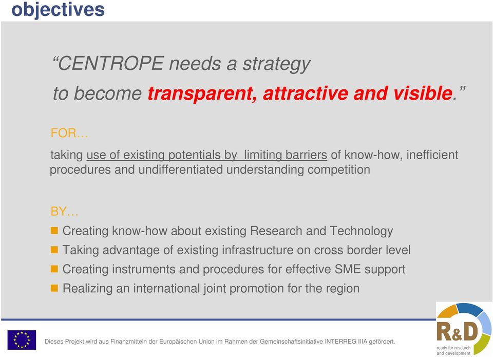 understanding competition BY Creating know-how about existing Research and Technology Taking advantage of existing