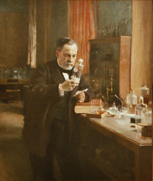 Traditionelle Impfstoffentwicklung Louis Pasteur in his laboratory, painting by A.