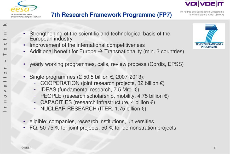 5 billion, 2007-2013): - COOPERATION (joint research projects, 32 billion ) - IDEAS (fundamental research, 7.5 Mrd. ) - PEOPLE (research scholarship, mobility, 4.