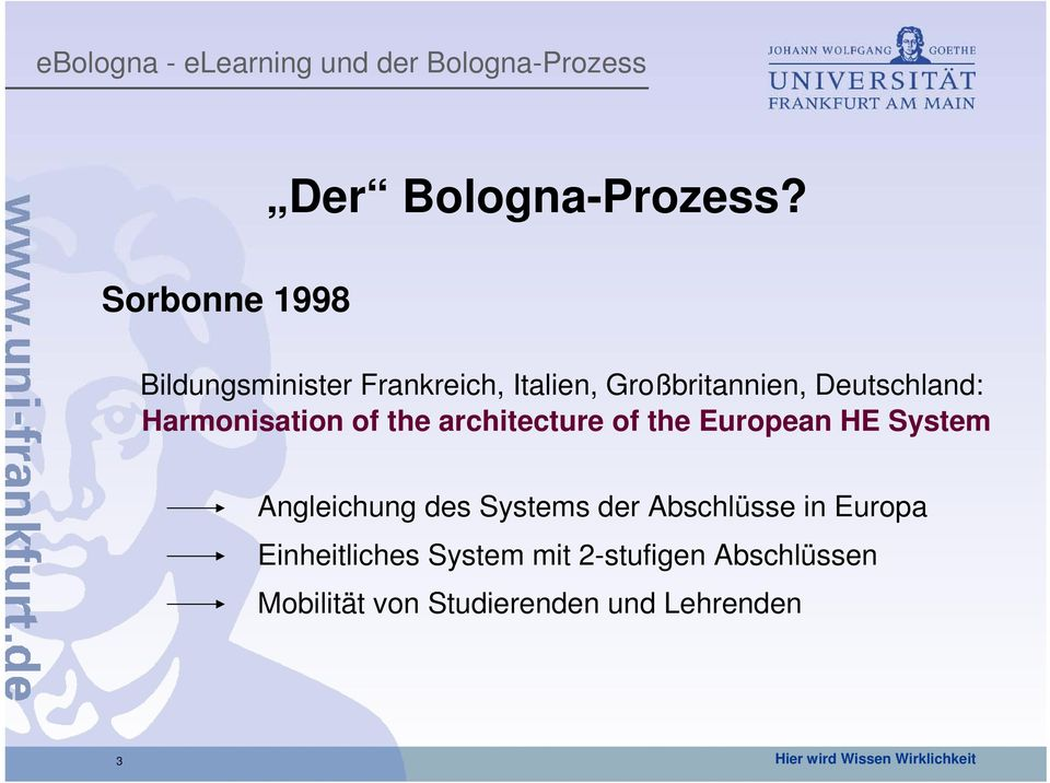 Harmonisation of the architecture of the European HE System Angleichung des