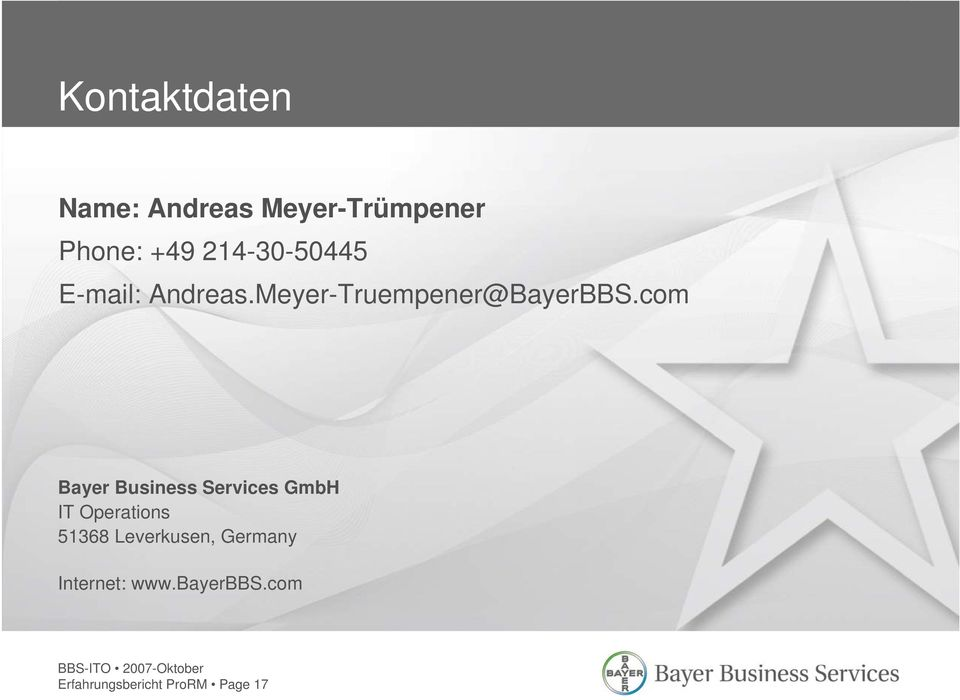 com Bayer Business Services GmbH IT Operations 51368