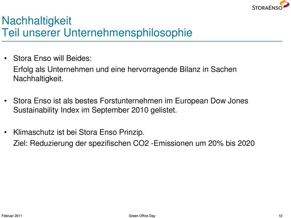 Stora Enso ist als bestes Forstunternehmen im European Dow Jones Sustainability Index im September