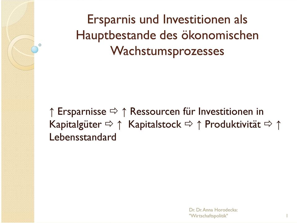 Ersparnisse Ressourcen für Investitionen in