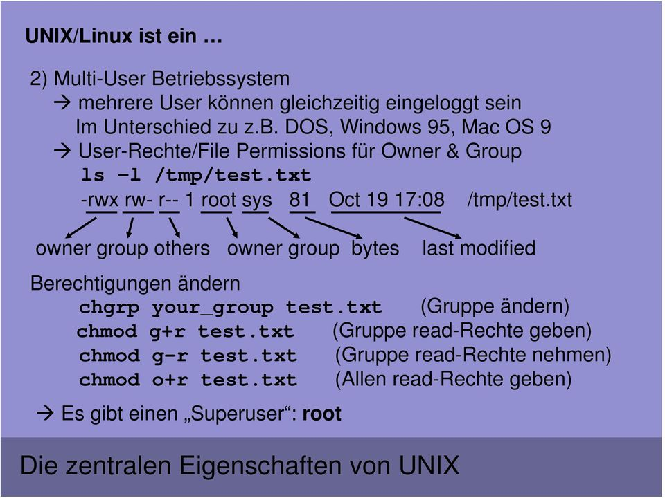 txt owner group others owner group bytes last modified Berechtigungen ändern chgrp your_group test.txt (Gruppe ändern) chmod g+r test.