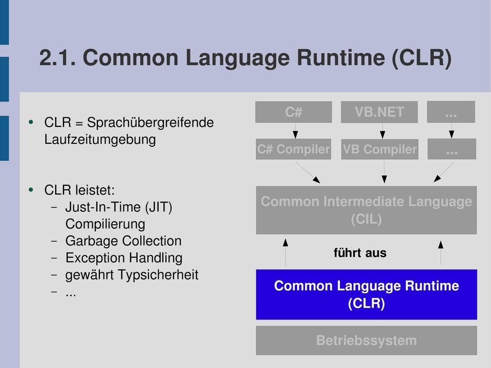 .. CLR leistet: Just In Time (JIT) Compilierung Garbage Collection Exception