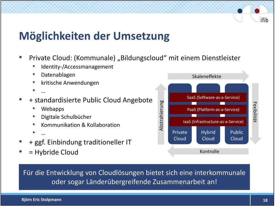 Einbindung traditioneller IT = Hybride Cloud g Abstrahierun Private Cloud SaaS (Software as a Service) PaaS (Platform as a Service) IaaS (Infrastructure