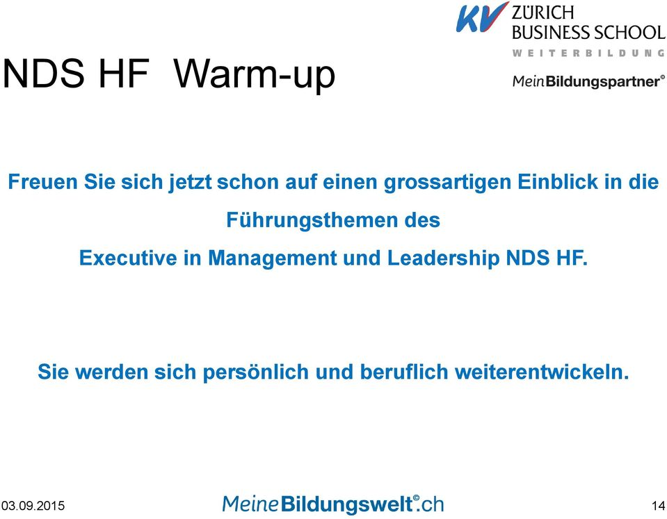 Executive in Management und Leadership NDS HF.
