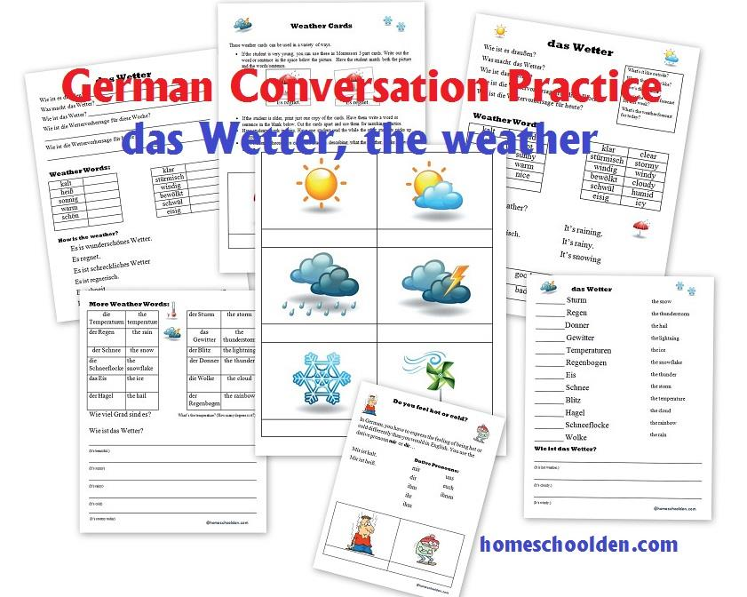 Talk about the weather and learn weather-related words with this packet: German Conversation