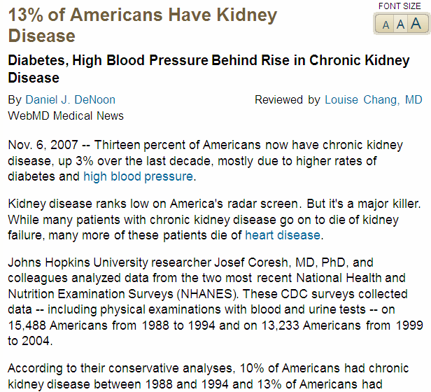 Prevalence of Chronic Kidney Disease in the