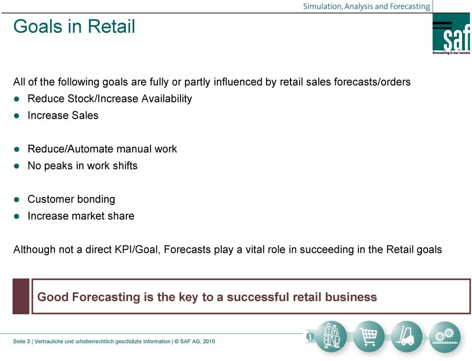 Increase market share Although not a direct KPI/Goal, Forecasts play a vital role in succeeding in the Retail goals