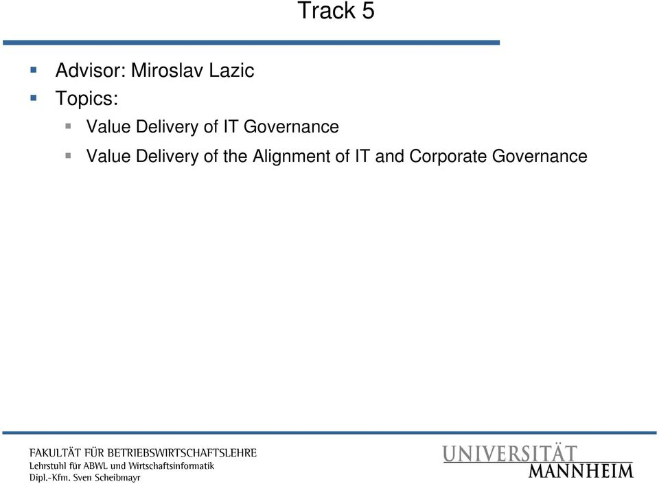 Governance Value Delivery of the