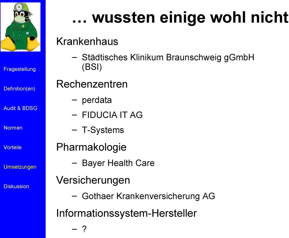 AG T-Systems Pharmakologie Bayer Health Care Versicherungen