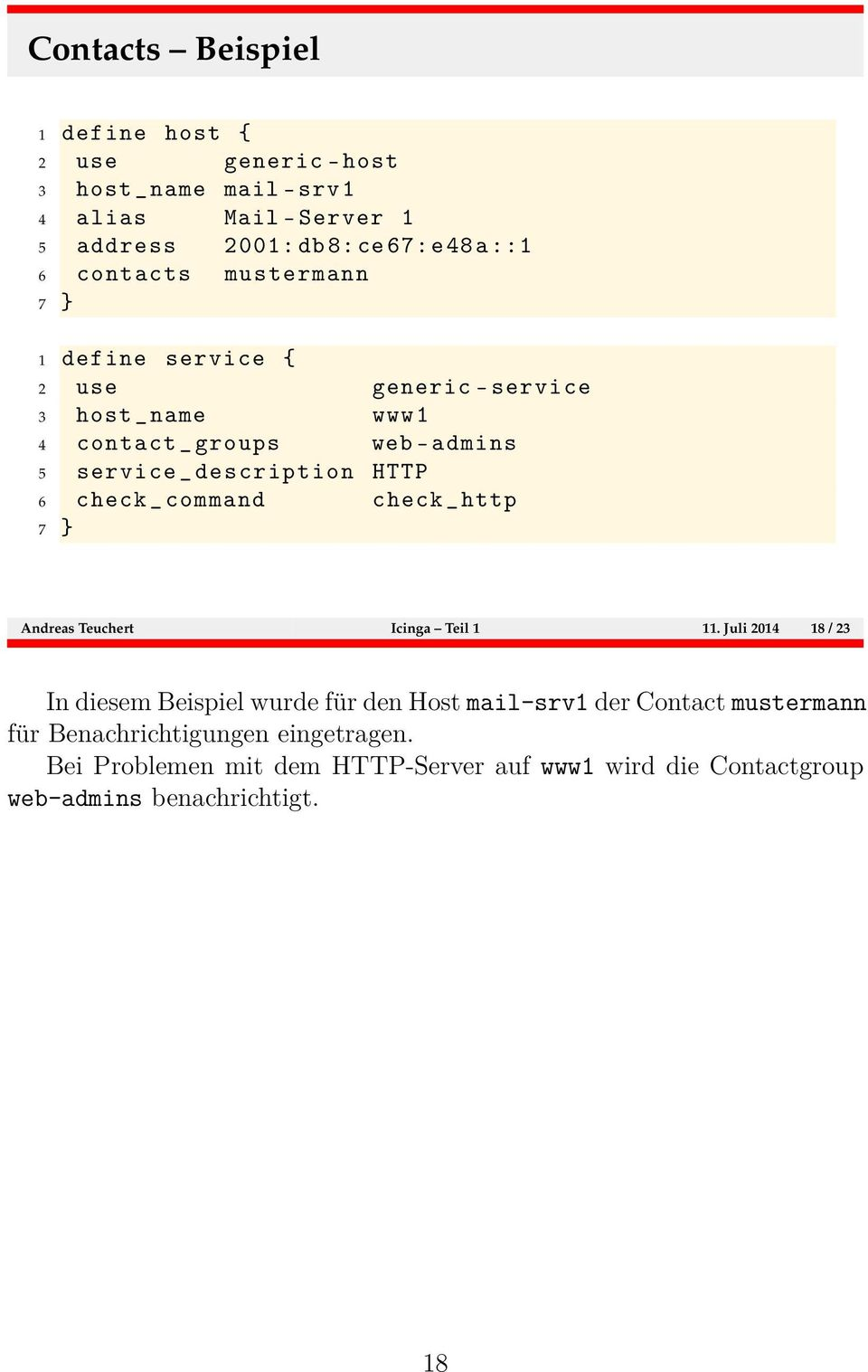 HTTP 6 check _ command check _ http 7 } Andreas Teuchert Icinga Teil 1 11.