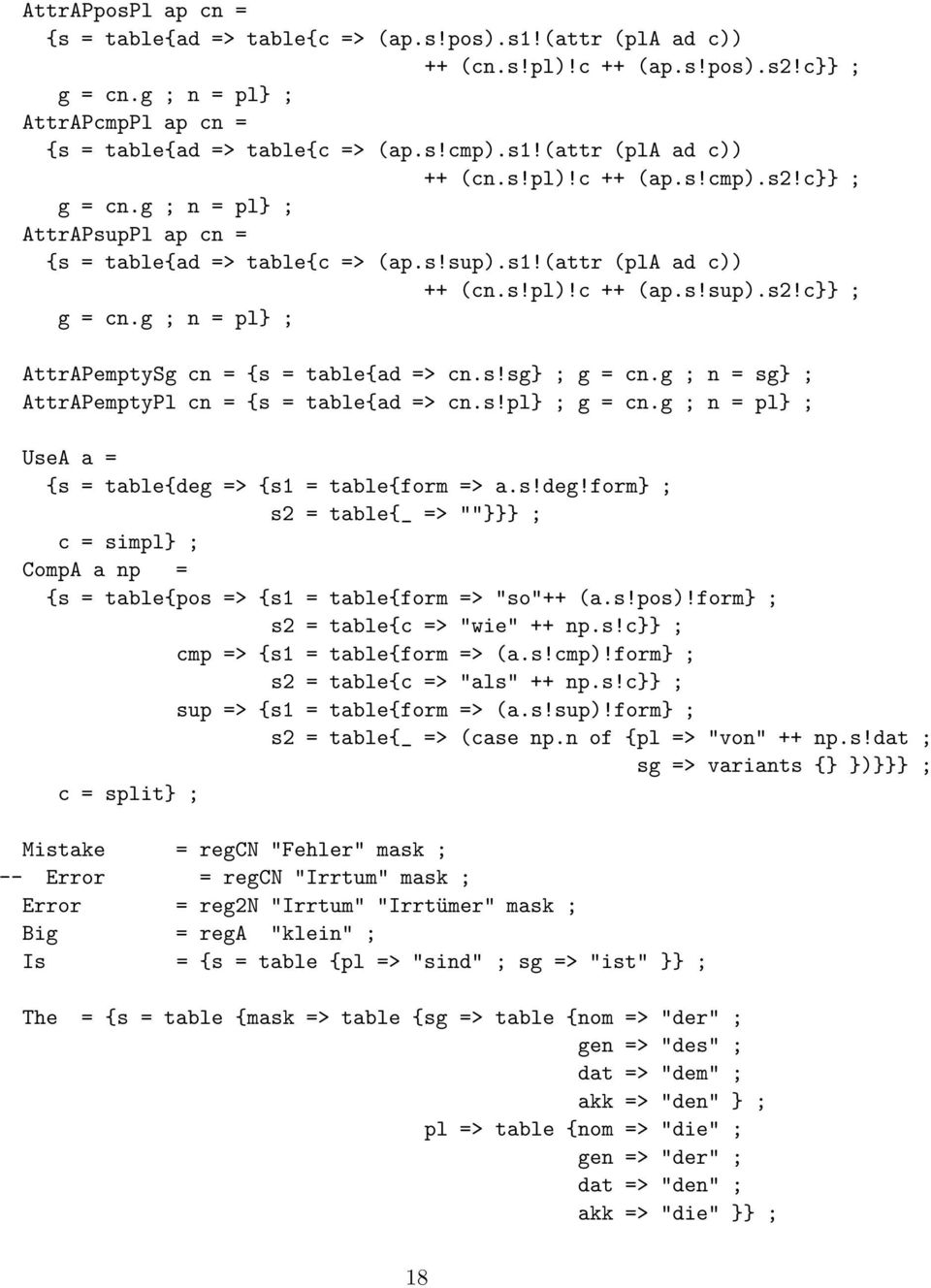 "g ; n = pl ; UseA a = {s = table{deg => {s1 = table{form => a.s!deg!form ; s2 = table{_ => """" ; c = simpl ; CompA a np = {s = table{pos => {s1 = table{form => ""so""++ (a.s!pos)!"