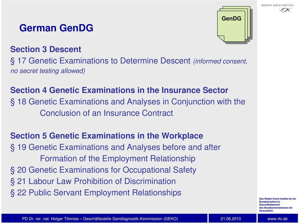 Section 5 Genetic Examinations in the Workplace 19 Genetic Examinations and Analyses before and after Formation of the Employment
