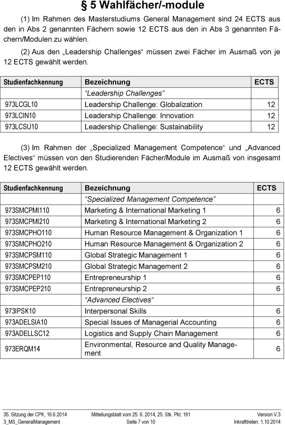 Studienfachkennung Bezeichnung ECTS Leadership Challenges 973LCGL10 Leadership Challenge: Globalization 12 973LCIN10 Leadership Challenge: Innovation 12 973LCSU10 Leadership Challenge: Sustainability