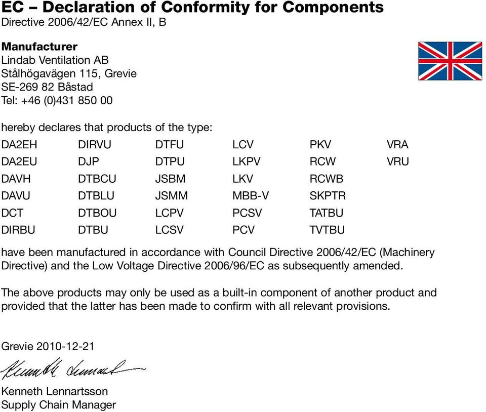 Directive) and the Low Voltage Directive 2006/96/EC as subsequently amended.