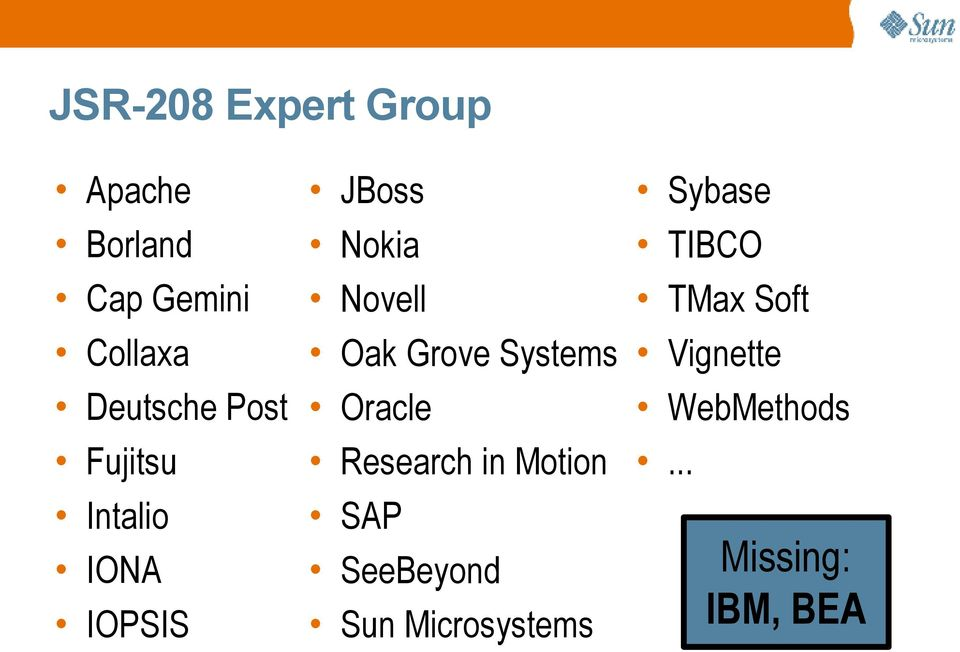 Systems Oracle Research in Motion SAP SeeBeyond Sun
