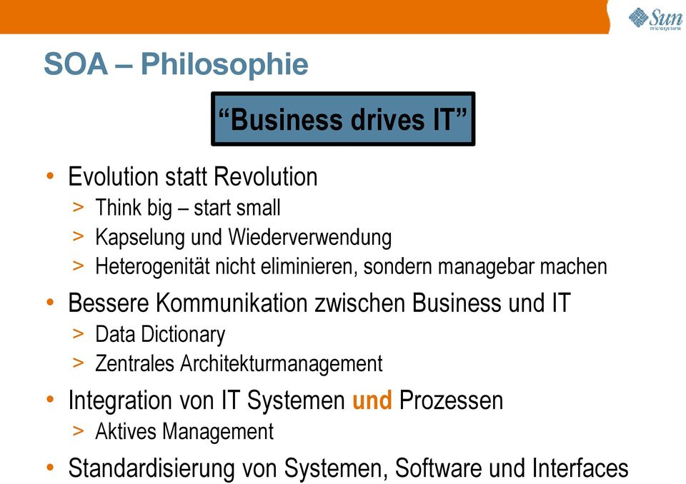 Kommunikation zwischen Business und IT > Data Dictionary > Zentrales Architekturmanagement