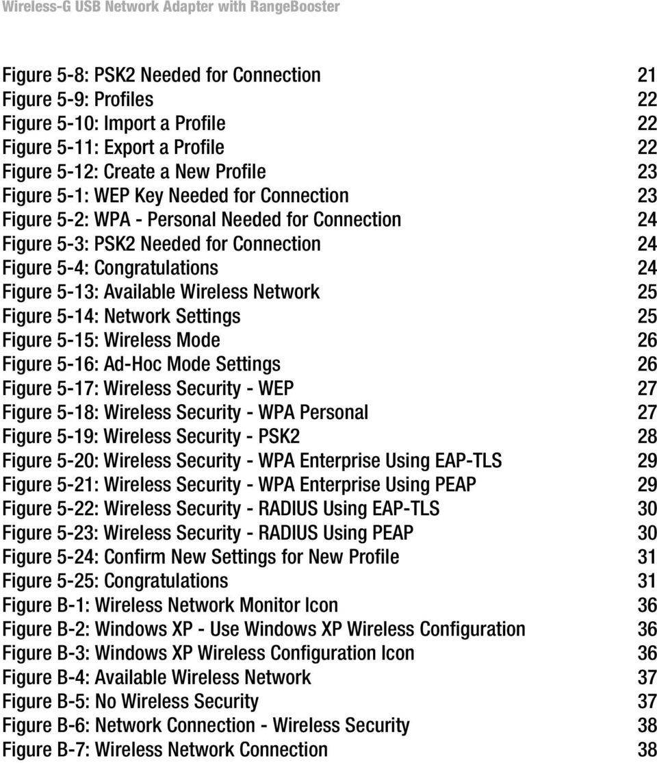 Figure 5-13: Available Wireless Network 25 Figure 5-14: Network Settings 25 Figure 5-15: Wireless Mode 26 Figure 5-16: Ad-Hoc Mode Settings 26 Figure 5-17: Wireless Security - WEP 27 Figure 5-18: