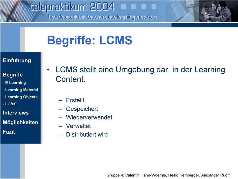 Material - Learning Objects - LCMS Erstellt