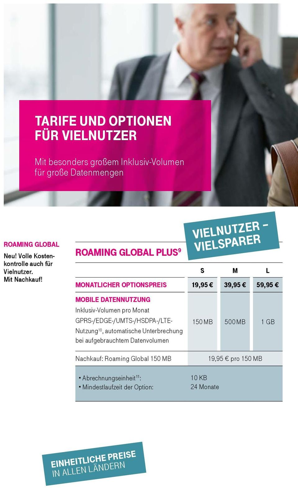 roaming global plus 9 VielNutzer VielSparer S M L monatlicher optionspreis 19,95 39,95 59,95 mobile datennutzung Inklusiv-Volumen pro Monat