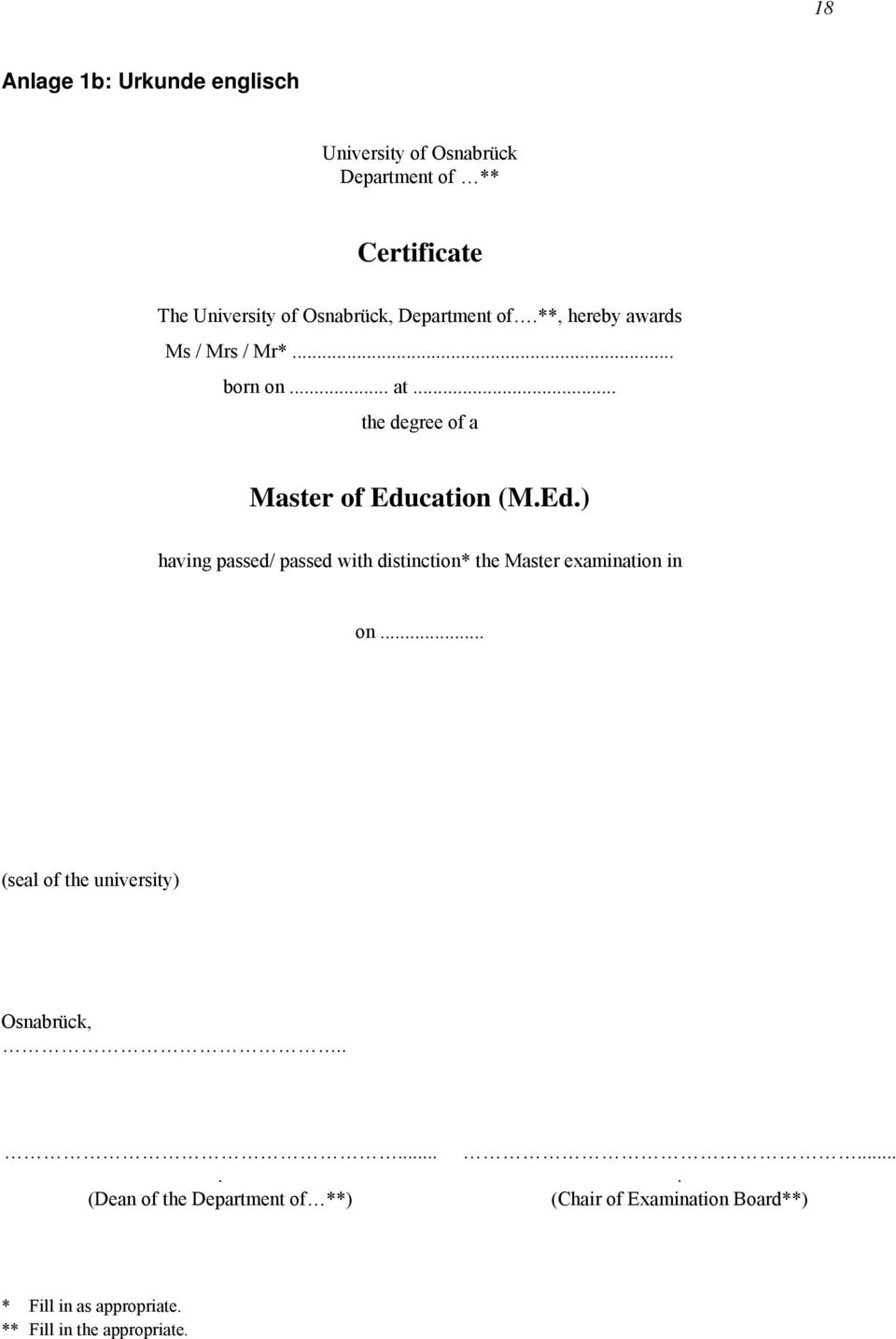cation (M.Ed.) having passed/ passed with distinction* the Master examination in on.