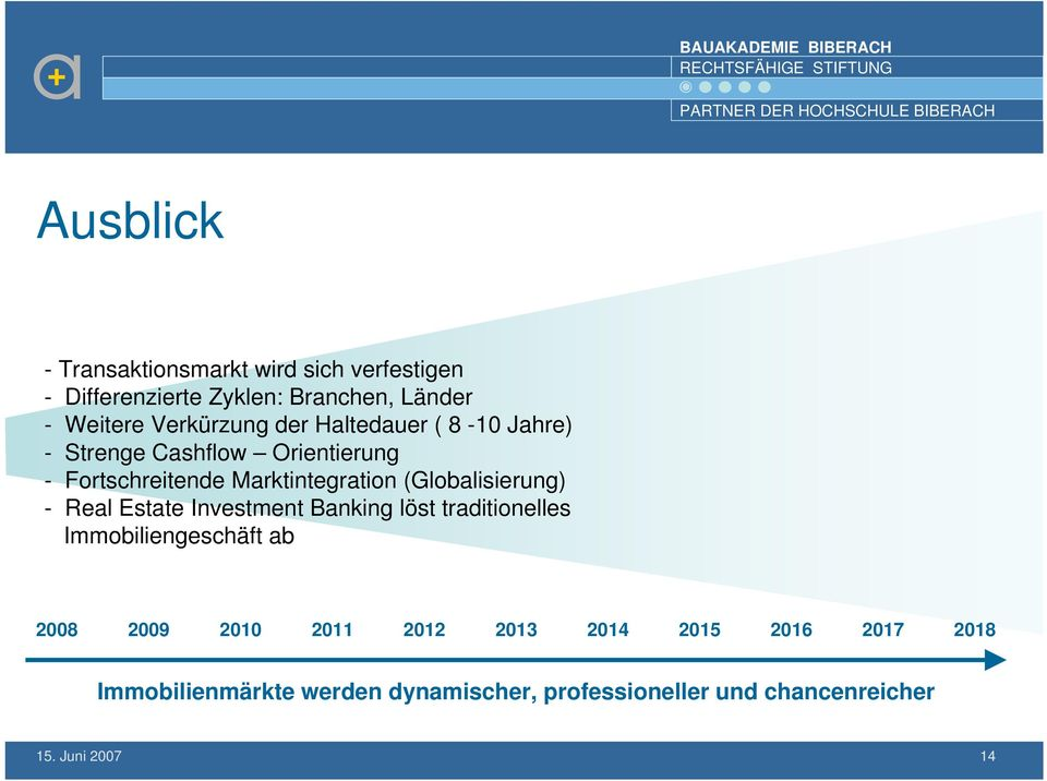 (Globalisierung) - Real Estate Investment Banking löst traditionelles Immobiliengeschäft ab 2008 2009 2010 2011