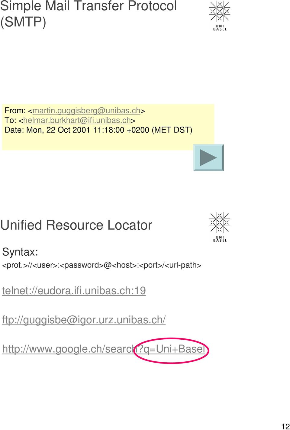 ch> Date: Mon, 22 Oct 2001 11:18:00 +0200 (MET DST) Unified Resource Locator Syntax: