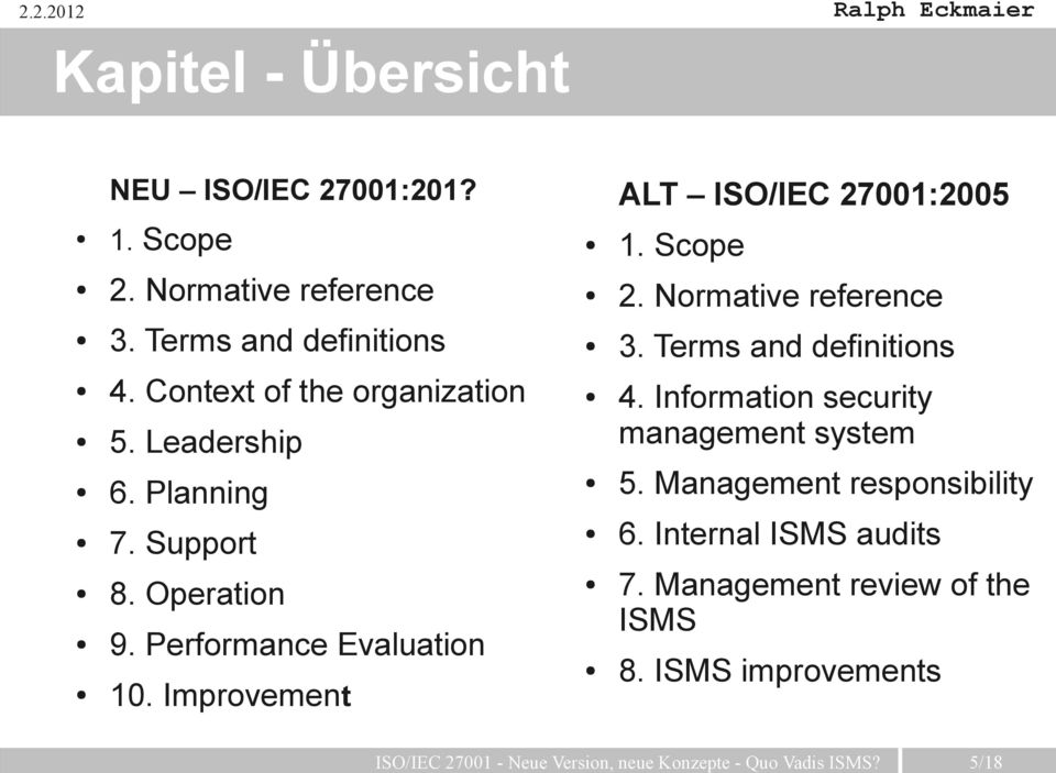 Improvement ALT ISO/IEC 27001:2005 1. Scope 2. Normative reference 3. Terms and definitions 4.