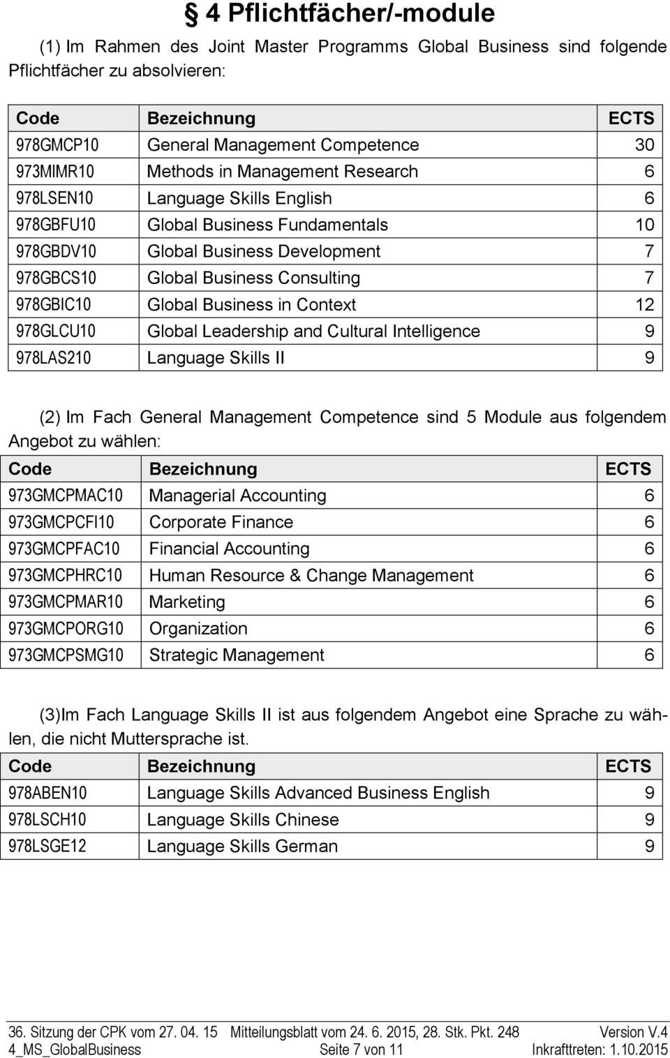 Global Business in Context 12 978GLCU10 Global Leadership and Cultural Intelligence 9 978LAS210 Language Skills II 9 (2) Im Fach General Management Competence sind 5 Module aus folgendem Angebot zu