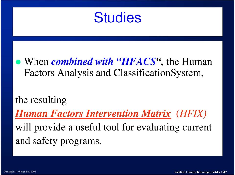 Human Factors Intervention Matrix (HFIX) will