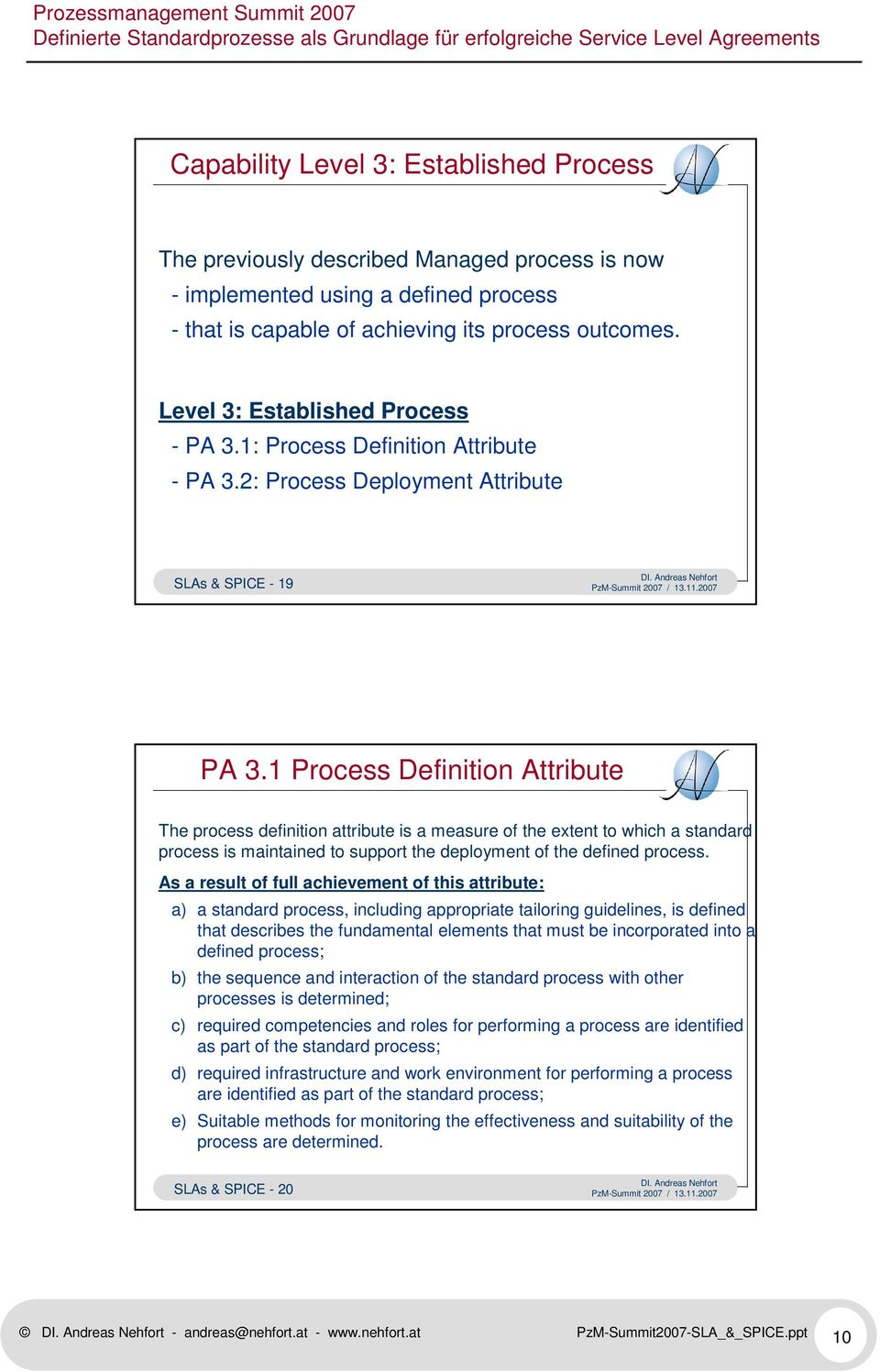1 Process Definition Attribute The process definition attribute is a measure of the extent to which a standard process is maintained to support the deployment of the defined process.