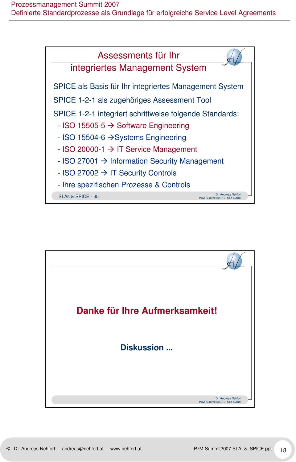 - ISO 20000-1 IT Service Management - ISO 27001 Information Security Management - ISO 27002 IT Security Controls - Ihre spezifischen