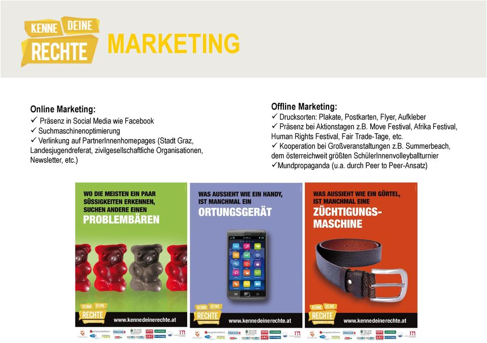 ) Offline Marketing: Drucksorten: Plakate, Postkarten, Flyer, Aufklebe