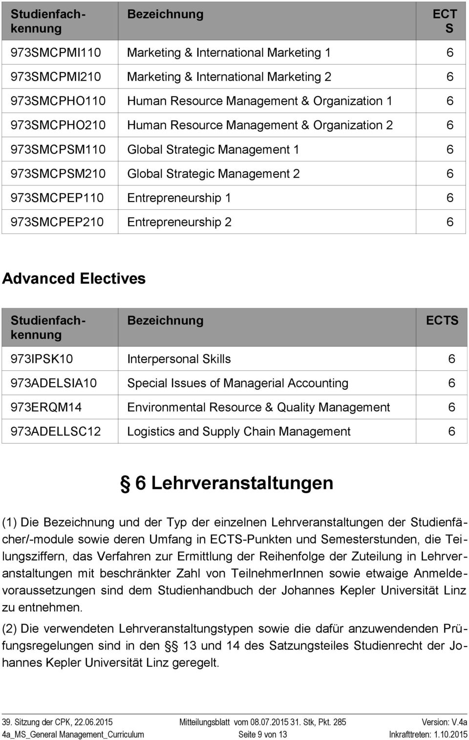 2 6 Advanced Electives Studienfachkennung Studienfachkennung Bezeichnung ECTS 973IPSK10 Interpersonal Skills 6 973ADELSIA10 Special Issues of Managerial Accounting 6 973ERQM1 Environmental Resource &