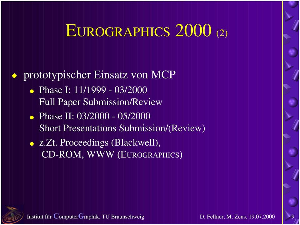 "Paper Submission/Review "" Phase II: 03/2000-05/2000 Short"
