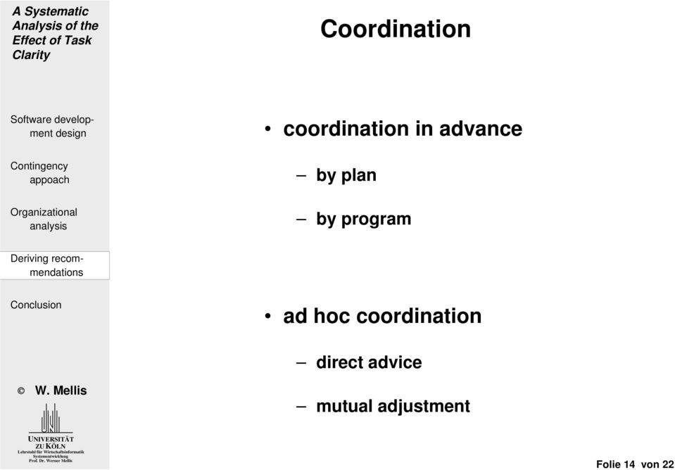 hoc coordination direct advice