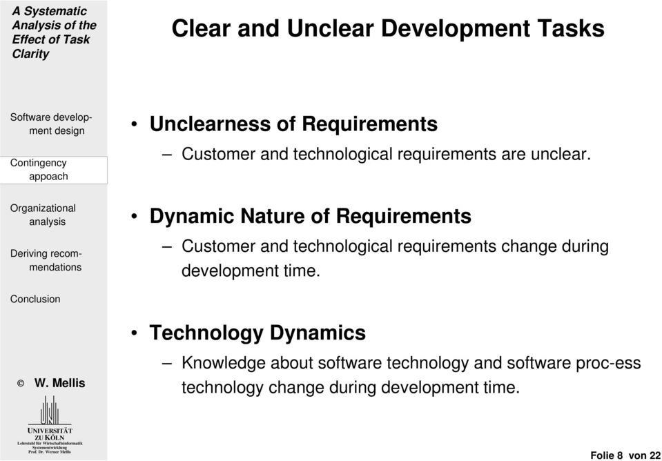 Dynamic Nature of Requirements Customer and technological requirements change during