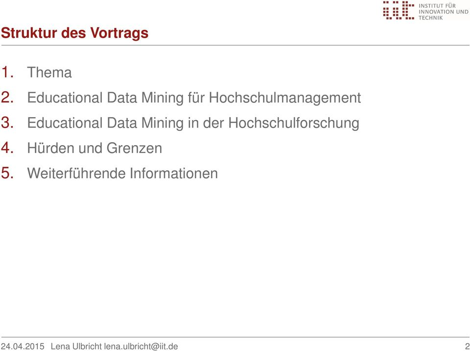 3. Educational Data Mining in der