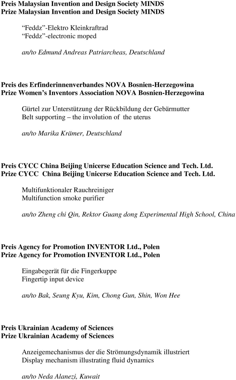 supporting the involution of the uterus an/to Marika Krämer, Deutschland Preis CYCC China Beijing Unicerse Education Science and Tech. Ltd.