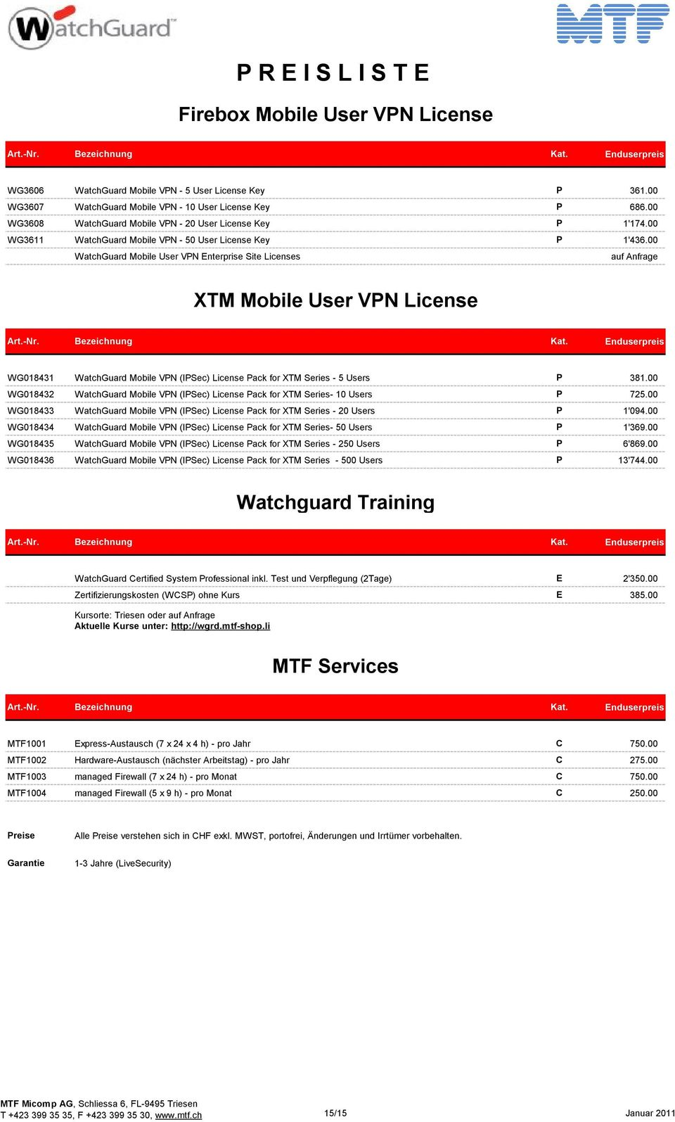 00 WatchGuard Mobile User VN Enterprise Site Licenses auf Anfrage XTM Mobile User VN License WG018431 WatchGuard Mobile VN (ISec) License ack for XTM Series - 5 Users 381.