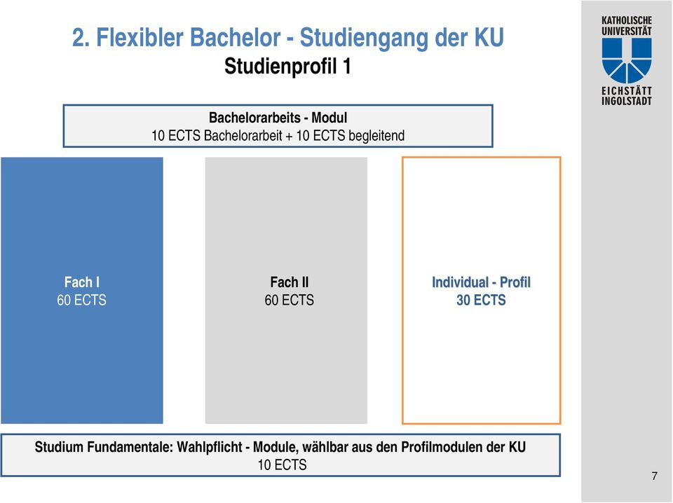 Fach I 60 ECTS Fach II 60 ECTS Individual - Profil 30 ECTS Studium