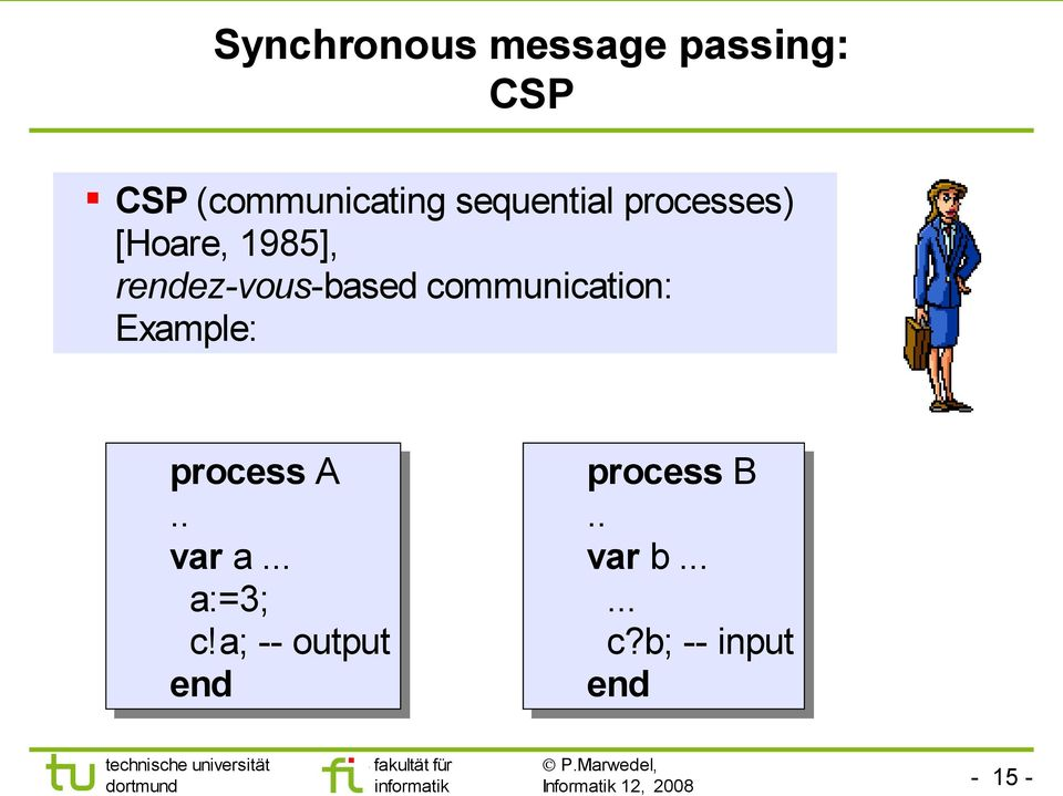 communication: Example: process A.. var a... a:=3; c!