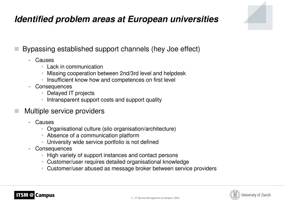 Organisational culture (silo organisation/architecture) Absence of a communication platform University wide service portfolio is not defined - Consequences High variety of support