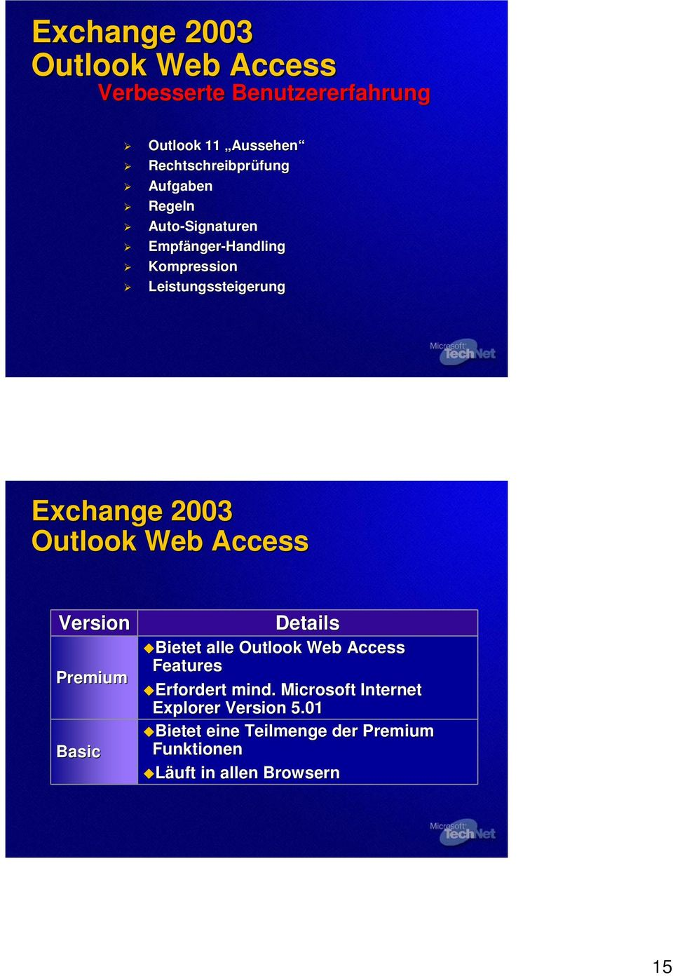 Outlook Web Access Version Premium Basic Details Bietet alle Outlook Web Access Features Erfordert mind.