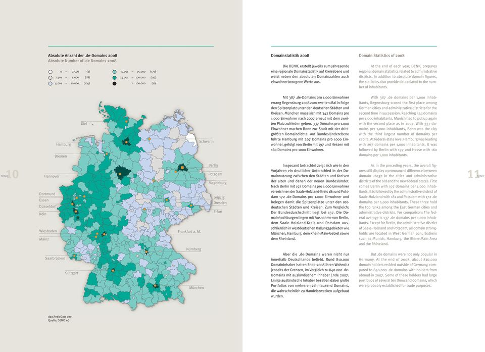 Domainzahlen auch einwohnerbezogene Werte aus. At the end of each year, DENIC prepares regional domain statistics related to administrative districts.