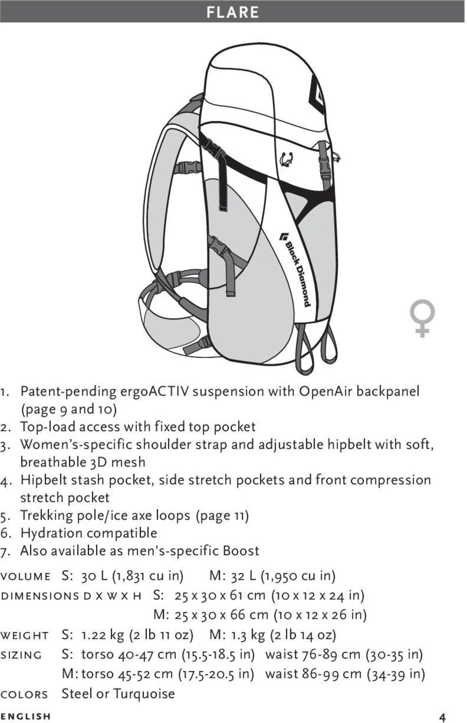 Trekking pole/ice axe loops (page 11) 6. Hydration compatible 7.