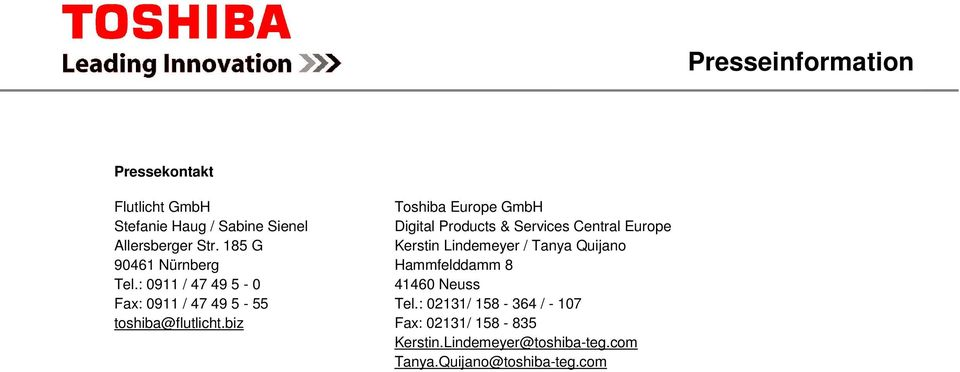 biz Toshiba Europe GmbH Digital Products & Services Central Europe Kerstin Lindemeyer / Tanya